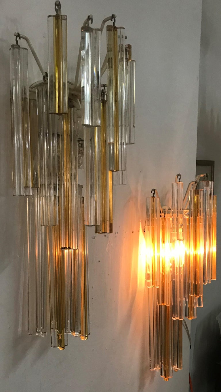 Mid-Century Modern Signed Pair of Murano 'Asta Triedo' Glass Sconces by Venini In Good Condition For Sale In Merida, Yucatan