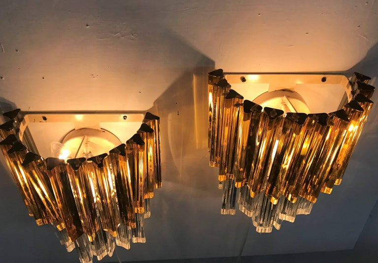 Murano Glass Mid-Century Modern Signed Pair of Murano 'Asta Triedo' Glass Sconces by Venini For Sale