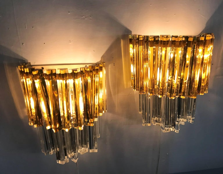 Mid-Century Modern Signed Pair of Murano 'Asta Triedo' Glass Sconces by Venini For Sale 1