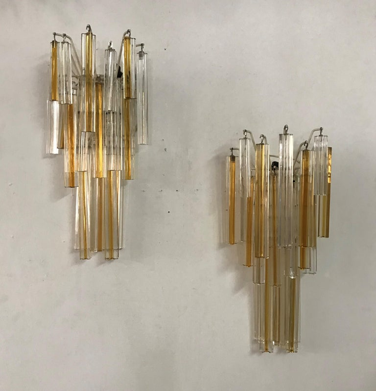 Mid-Century Modern Signed Pair of Murano 'Asta Triedo' Glass Sconces by Venini For Sale 2