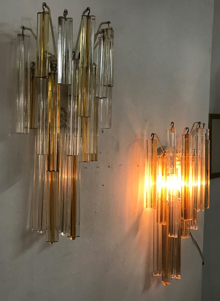 Mid-Century Modern Signed Pair of Murano 'Asta Triedo' Glass Sconces by Venini For Sale 3