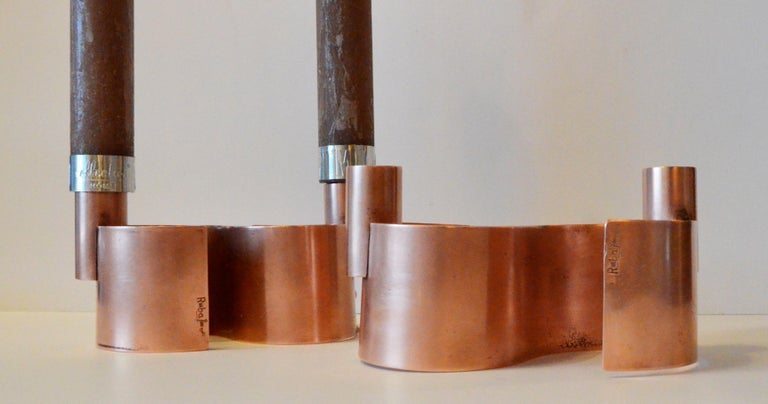 Pair of S-Form with 2 Candelabras Each Rebajes Copper Candlestick Holders For Sale 4