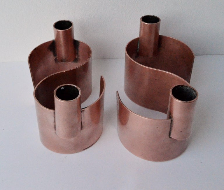 Mexican Pair of S-Form with 2 Candelabras Each Rebajes Copper Candlestick Holders For Sale