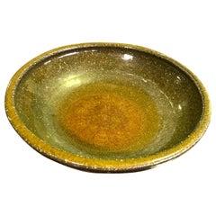 Mid-Century Modern Signed Studio Pottery Ceramic Glazed Artisan Bowl