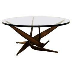 Mid-Century Modern Silas Seandel Brutalist Bronze Cocktail Coffee Table 1970s