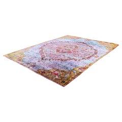 Mid-Century Modern Silk Like Handmade in India Area Rug Carpet Purple Pattern