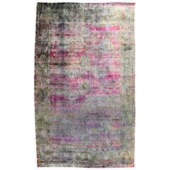 Mid-Century Modern Silk Like Handmade India Area Rug Carpet Blue Purple Pattern