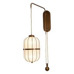 Mid-Century Modern Silk Wall-Lamp with a Pulley Shanghai Re Edtion