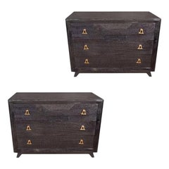 Mid-Century Modern Silver Cerused Chest with Stylized Brass Pulls