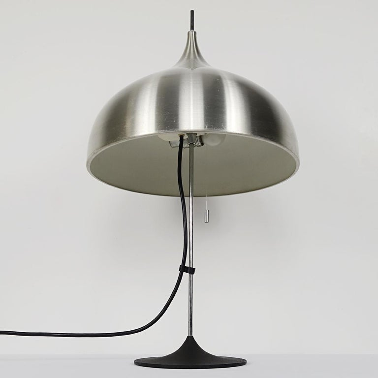 German Mid-Century Modern Silver Colored Mushroom Shaped Table Lamp by Doria For Sale