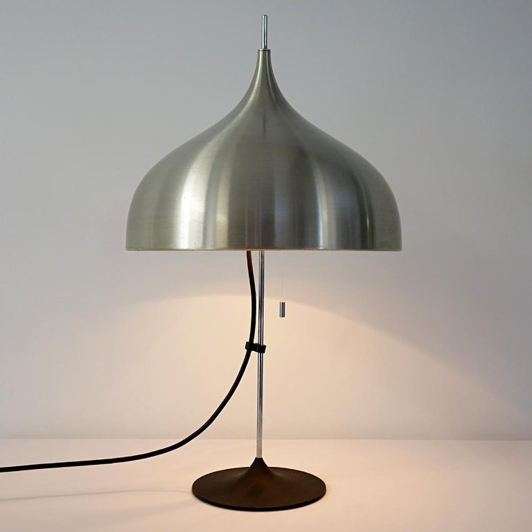 Mid-Century Modern Silver Colored Mushroom Shaped Table Lamp by Doria For Sale 2