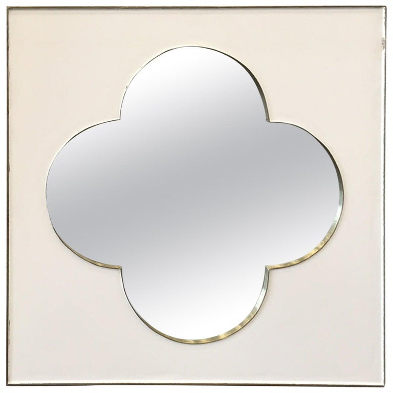 Mid-Century Modern Silver Metal Framed Mirror For Sale
