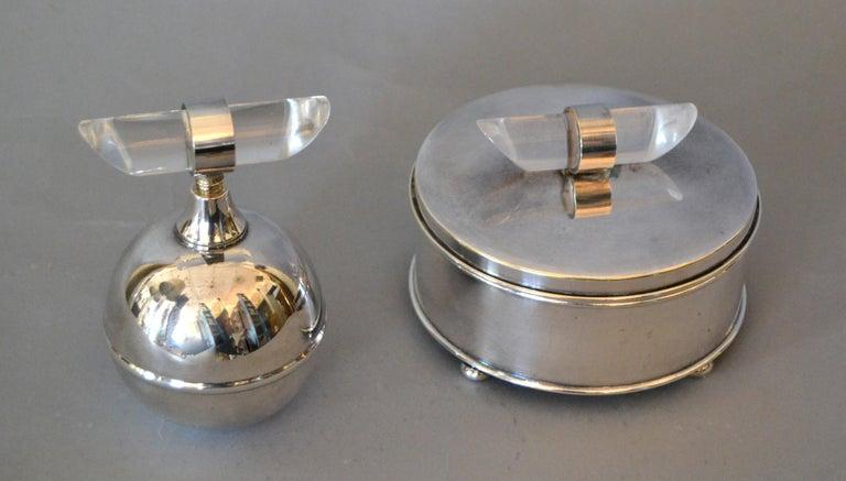 Mid-Century Modern Silver Plate & Lucite Vanity Set Perfume Bottle & Powder Box For Sale 6