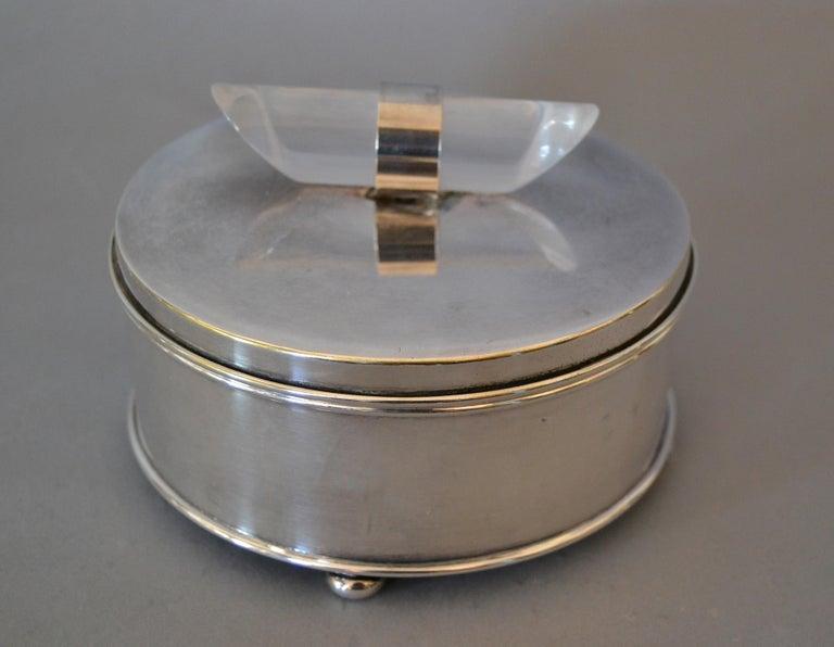 American Mid-Century Modern Silver Plate & Lucite Vanity Set Perfume Bottle & Powder Box For Sale