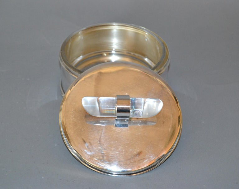 Hand-Carved Mid-Century Modern Silver Plate & Lucite Vanity Set Perfume Bottle & Powder Box For Sale
