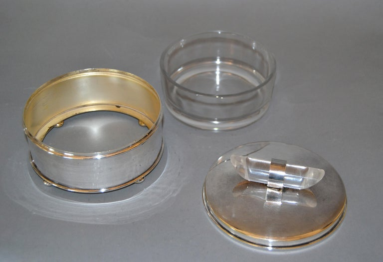 Mid-20th Century Mid-Century Modern Silver Plate & Lucite Vanity Set Perfume Bottle & Powder Box For Sale
