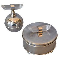 Mid-Century Modern Silver Plate & Lucite Vanity Set Perfume Bottle & Powder Box