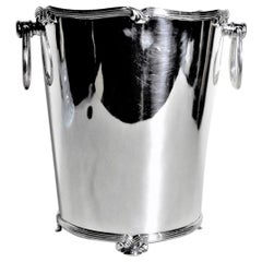 Mid-Century Modern Silver Plated Footed Ice Bucket with Banded Ribbon Accents