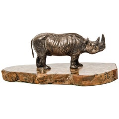 Mid-Century Modern Silver Plated Rhinoceros Sculpture on Marble Base