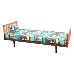 Mid-Century Modern Single Bed by Hans Wegner, with Bed Table
