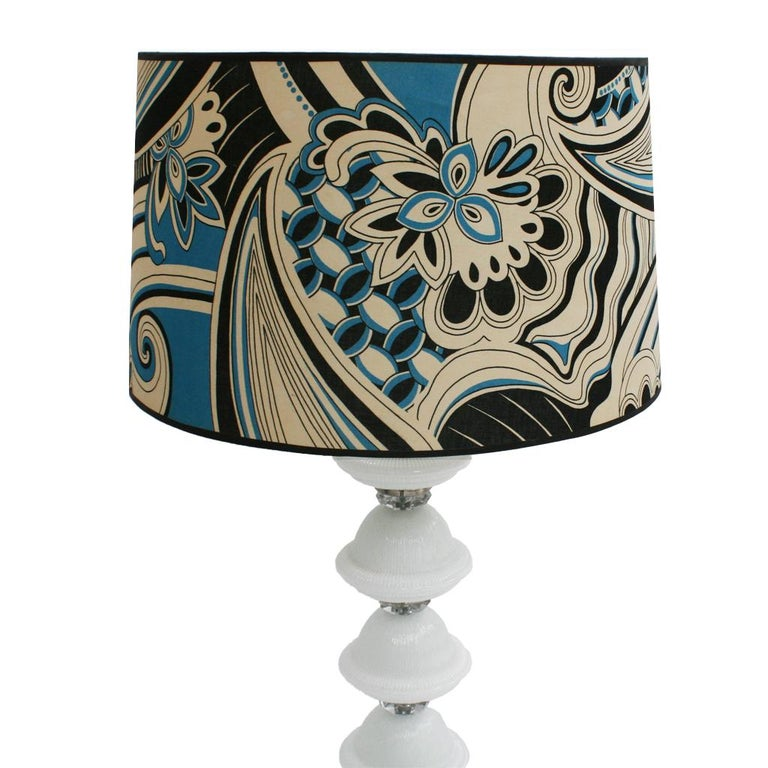 Single Italian lamp composed of metal structure with hand blow Murano glass pieces.  Original lampshade upholstered in cotton with paisley motifs, Italy, 1960.