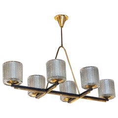 Mid-Century Modern Six Arm Textured Glass, Black Iron, Polished Brass Chandelier