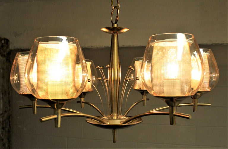 Mid-Century Modern Six Branch Brass & Glass Chandelier Attributed to G. Thurston For Sale 4