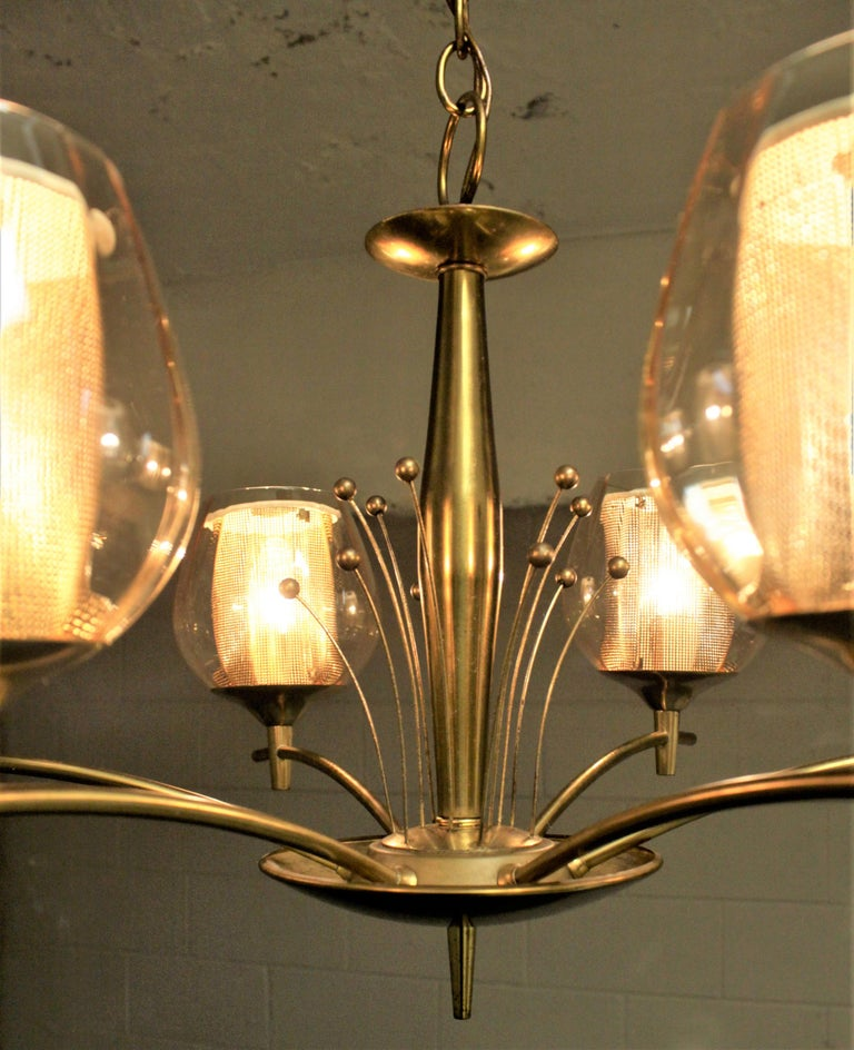 Mid-Century Modern Six Branch Brass & Glass Chandelier Attributed to G. Thurston For Sale 6