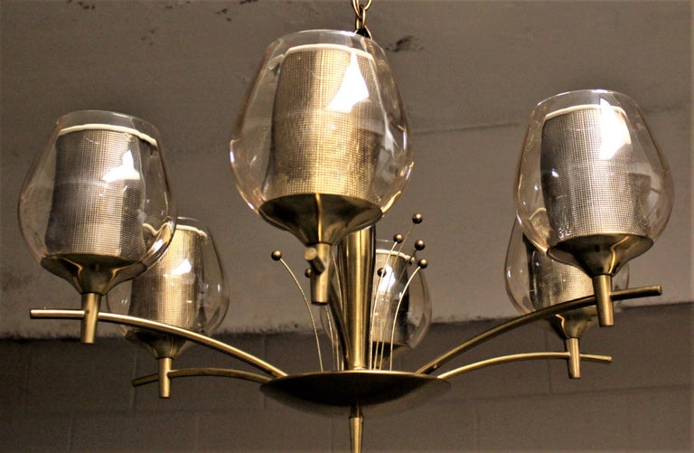 Mid-Century Modern Six Branch Brass & Glass Chandelier Attributed to G. Thurston For Sale 7