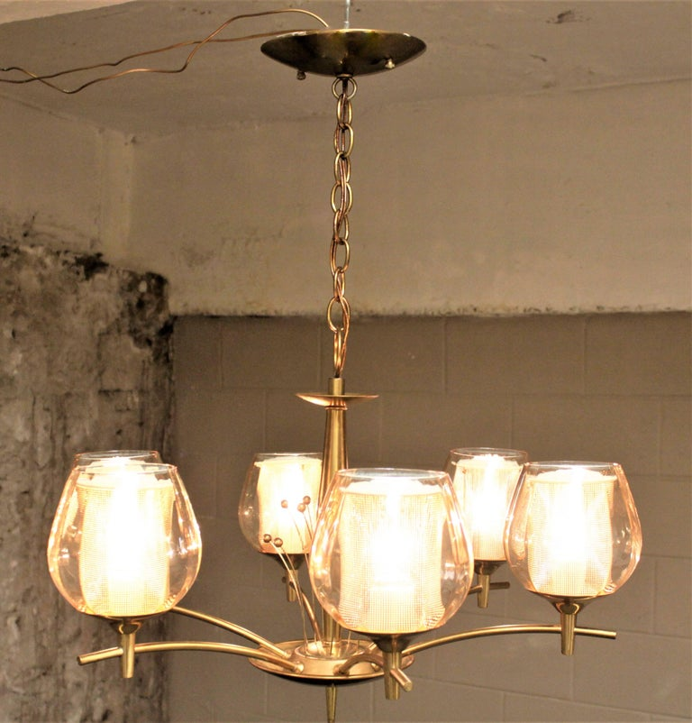 American Mid-Century Modern Six Branch Brass & Glass Chandelier Attributed to G. Thurston For Sale