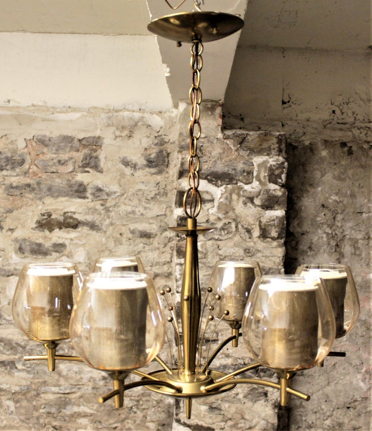 Machine-Made Mid-Century Modern Six Branch Brass & Glass Chandelier Attributed to G. Thurston For Sale