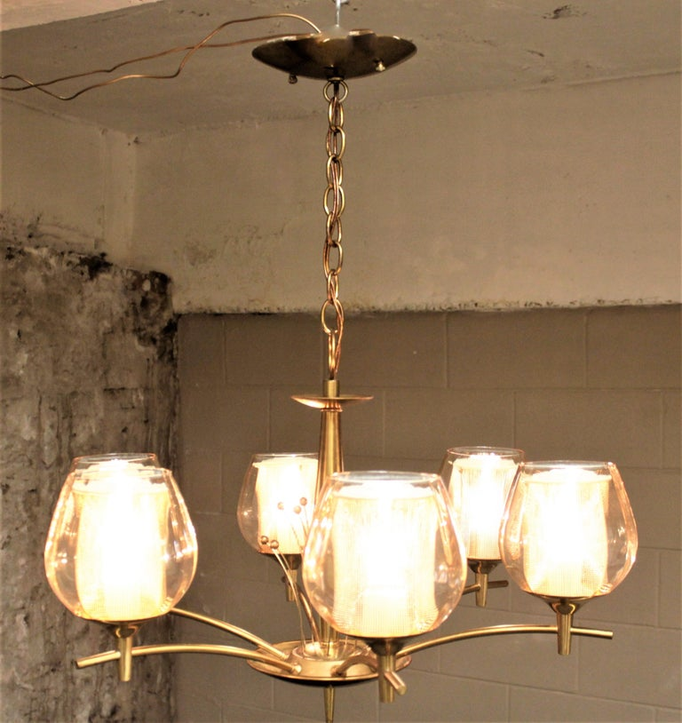 Mid-Century Modern Six Branch Brass & Glass Chandelier Attributed to G. Thurston In Good Condition For Sale In Hamilton, Ontario