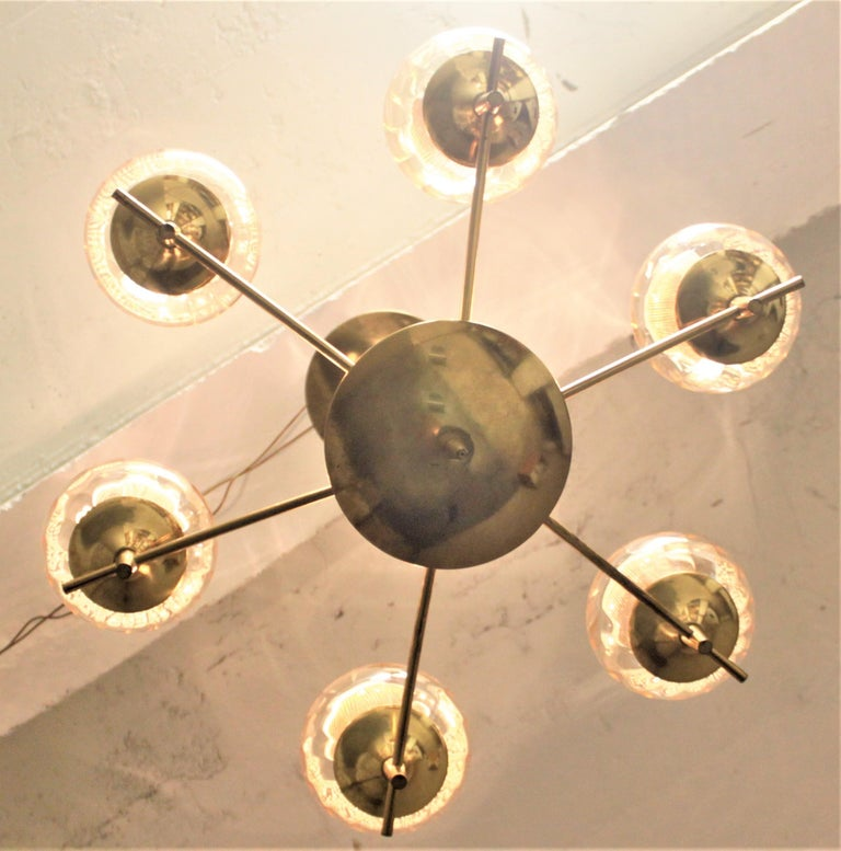 20th Century Mid-Century Modern Six Branch Brass & Glass Chandelier Attributed to G. Thurston For Sale