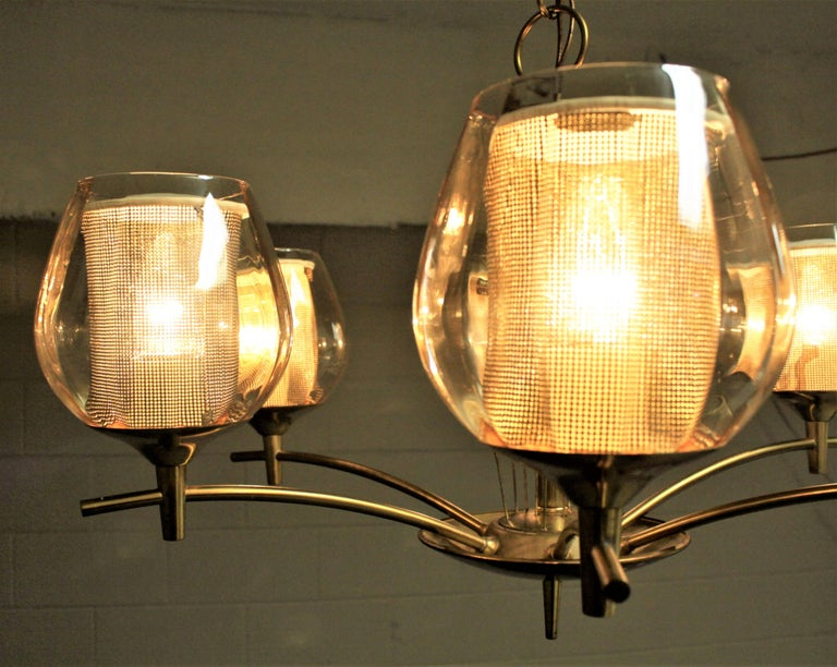 Mid-Century Modern Six Branch Brass & Glass Chandelier Attributed to G. Thurston For Sale 2