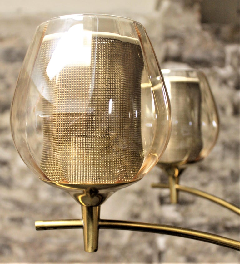 Mid-Century Modern Six Branch Brass & Glass Chandelier Attributed to G. Thurston For Sale 3