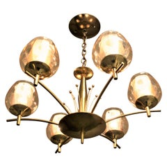 Mid-Century Modern Six Branch Brass & Glass Chandelier Attributed to G. Thurston
