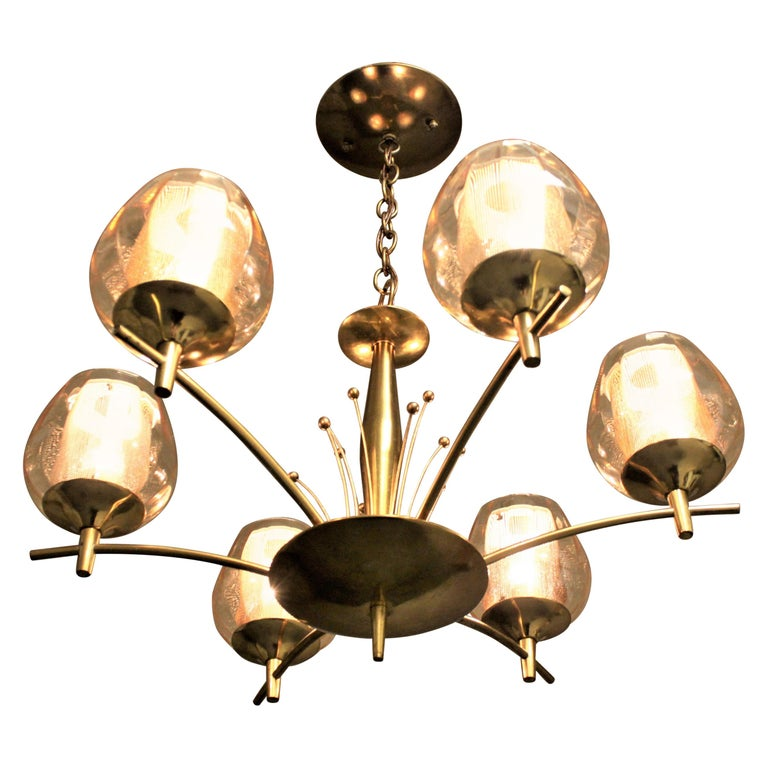 Mid-Century Modern Six Branch Brass & Glass Chandelier Attributed to G. Thurston For Sale