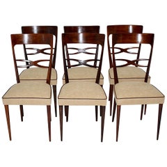 Mid-Century Modern Six Dining Chairs Brown Beech Melchiorre Bega, 1950, Italy