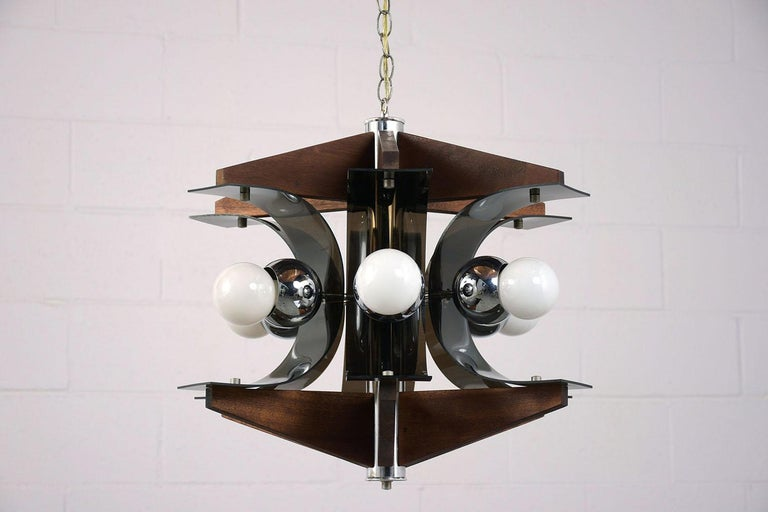 Mid-Century Modern Six-Light Chandelier In Excellent Condition For Sale In Los Angeles, CA