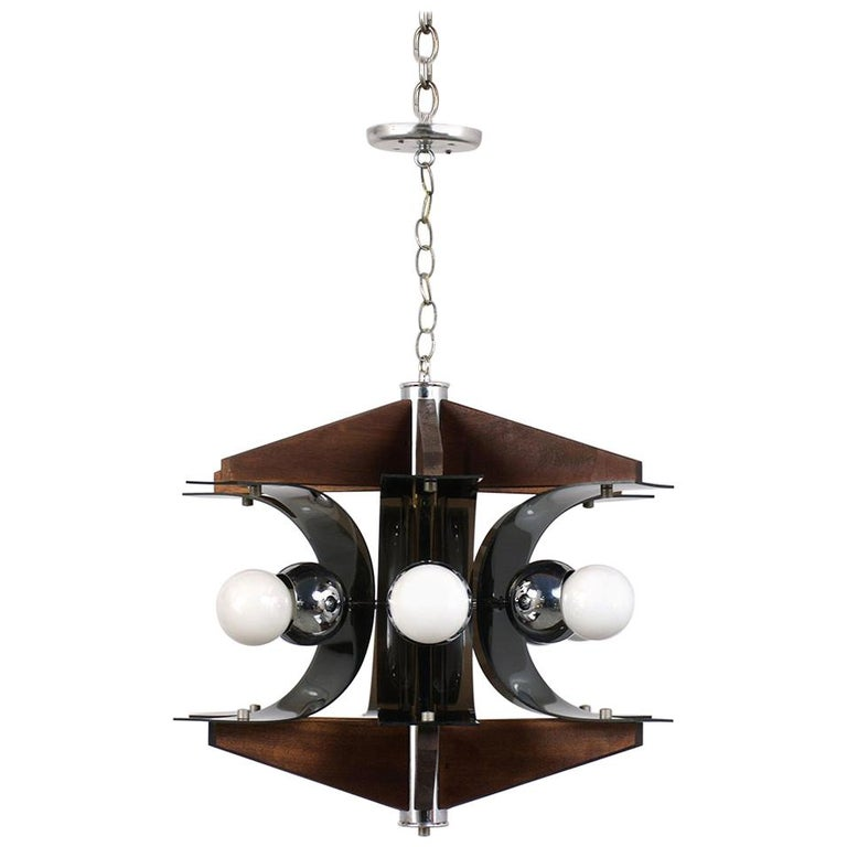 Mid-Century Modern Six-Light Chandelier For Sale