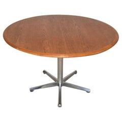 Mid-Century Modern Skovmand & Andersen Denmark Teak Round Table Adjustable