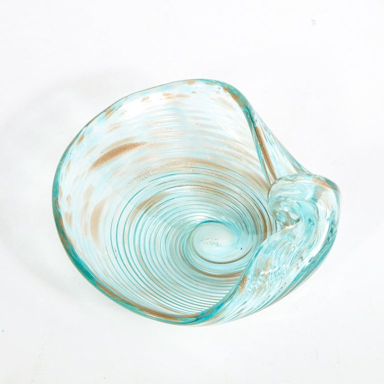 Mid-20th Century Mid-Century Modern Sky Blue Hand Blown Murano Bowl with 24-Karat Gold Flecks For Sale