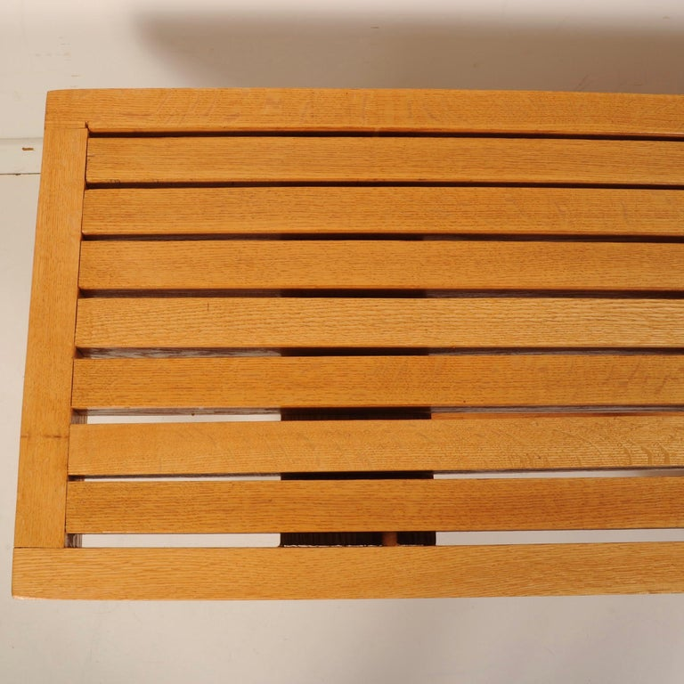 American Mid-Century Modern Slat Bench For Sale