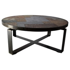 Mid-Century Modern Slate and Brass Coffee Table