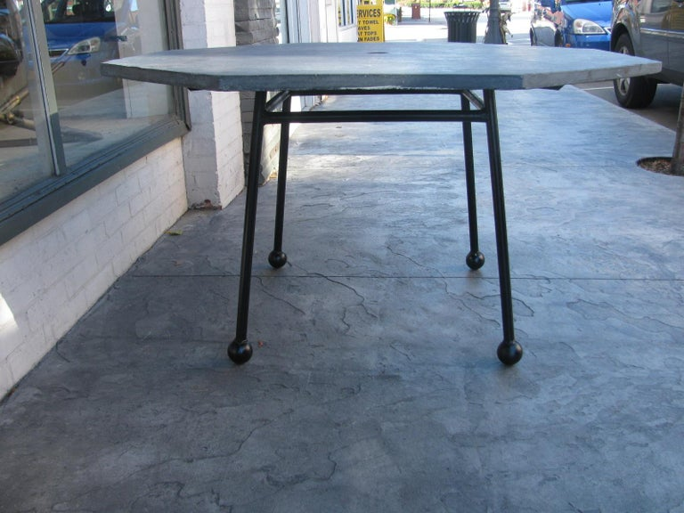 Mid-Century Modern Slate Octagonal Table by Russell Woodard For Sale 1