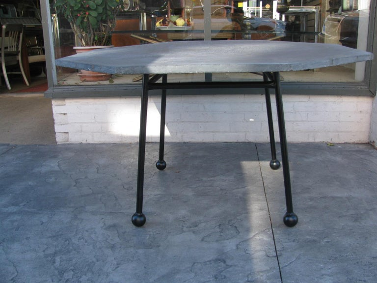 Mid-Century Modern Slate Octagonal Table by Russell Woodard For Sale 4