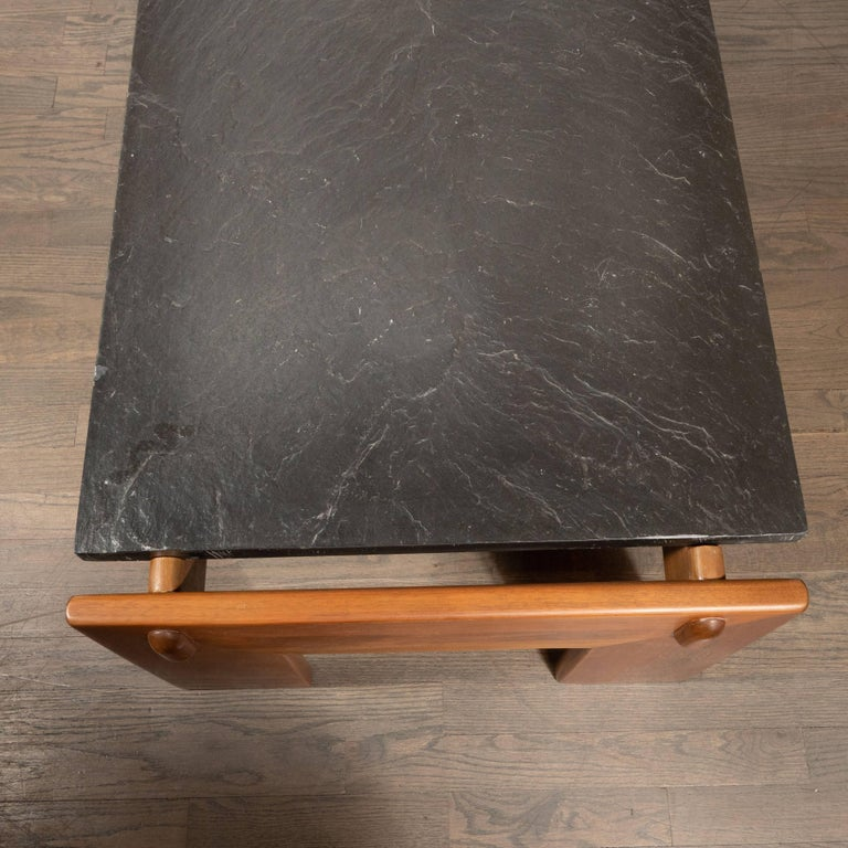 Mid-Century Modern Slate Top Cocktail Table with Hand Rubbed Walnut Base For Sale 5