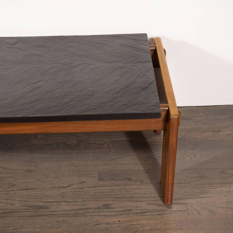 Mid-Century Modern Slate Top Cocktail Table with Hand Rubbed Walnut Base In Excellent Condition For Sale In New York, NY