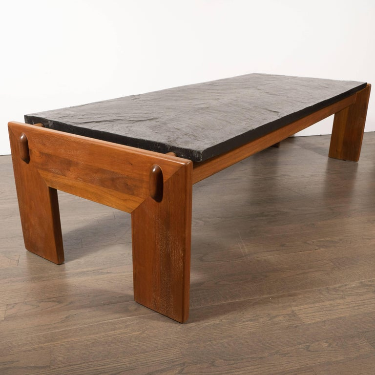 Mid-20th Century Mid-Century Modern Slate Top Cocktail Table with Hand Rubbed Walnut Base For Sale