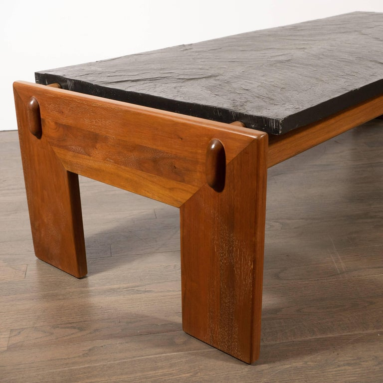 Mid-Century Modern Slate Top Cocktail Table with Hand Rubbed Walnut Base For Sale 1